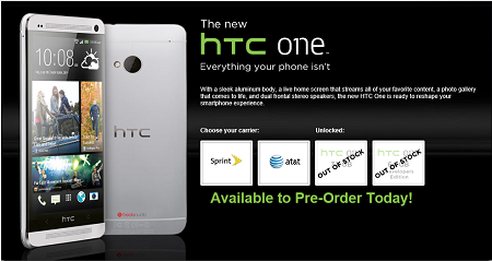 HTC One Sold Out