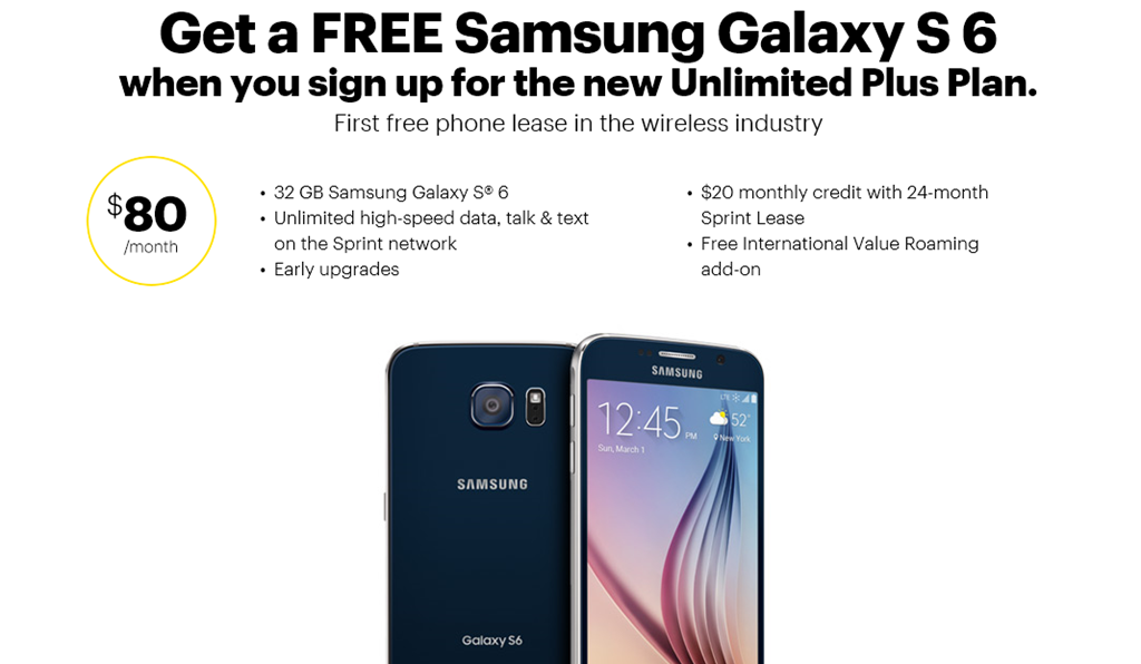 Get A Free Galaxy S 6 With Sprint Lease And Unlimited Plus Plan